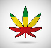 Cannabis leaf with the rasta flag Stock Images