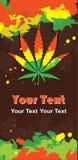 Cannabis leaf and rastafarian colors