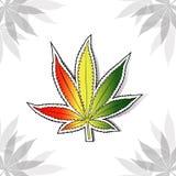 Cannabis leaf with rastafarian flag colors Royalty Free Stock Photography