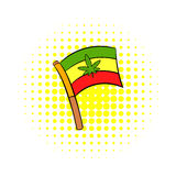 Cannabis leaf on rastafarian flag icon Royalty Free Stock Photos