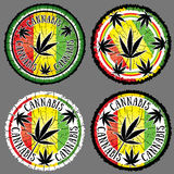 Cannabis leaf silhouette design jamaican flag background Royalty Free Stock Image