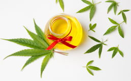 Cannabis leaves and oil on white Stock Image