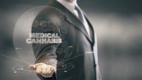 Cannabis médico com conceito do homem de negócios do holograma ilustração stock