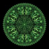 Cannabis Marijiana Intricate Mandala. Intricate and funky cannabis theme mandala, hand drawn, file organized for easy editing stock illustration