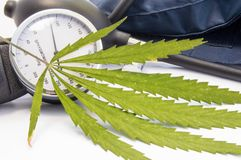 Cannabis or marijuana and blood pressure. Green cannabis leaf lies near measuring scale of sphygmomanometer and inflated cuff. Con stock photography
