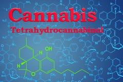 Cannabis, marijuana eller tetrahydrocannabinol Kemisk formel, M royaltyfri illustrationer