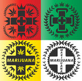 Cannabis marijuana first aid symbol stamps. Set of Cannabis marijuana first aid symbol stamps Royalty Free Stock Images