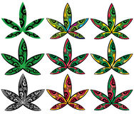 Cannabis marijuana ganja decorative style leaf symbol  illustration Royalty Free Stock Photos