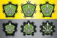 Cannabis marijuana green badge design Royalty Free Stock Photos