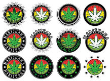 Cannabis marijuana green leaf symbol design stamps Royalty Free Stock Photography