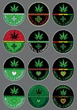Cannabis marijuana green leaf symbol design stamps Stock Image