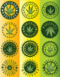 Cannabis marijuana green leaf symbol stamps Stock Photography