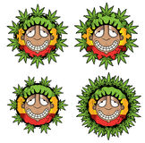 Cannabis marijuana happy smiling rastafarian guy  illustration Royalty Free Stock Images