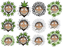 Cannabis marijuana happy smiling rastafarian guy  illustration Stock Images