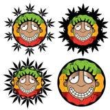 Cannabis marijuana happy smiling rastafarian guy  illustration Stock Photo