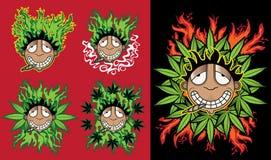 Cannabis marijuana happy smiling rastafarian guy  illustration Royalty Free Stock Photography