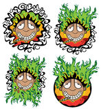 Cannabis marijuana happy smiling rastafarian guy  illustration Stock Image