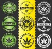 Cannabis marijuana leaf symbol stamps Royalty Free Stock Image