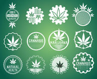 Cannabis and marijuana product symbol stamps stock image