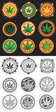 Cannabis and marijuana product symbol stamps. Set of cannabis and marijuana product symbol stamps Stock Images
