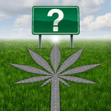 Cannabis Marijuana Questions. Cannabis marijuana or marihuana questions concept with a driving road or street in the shape of the pot leaf and a highway sign Royalty Free Illustration