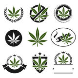 Cannabis, marijuana set. Vector Stock Images