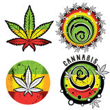 Cannabis and marijuana symbol stamps  Royalty Free Stock Image