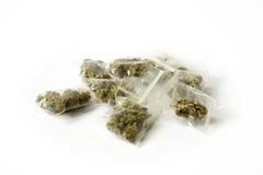 Cannabis marijunana medicine dose bags. Cannabis marijunana hemp medicine dose bags Stock Photography