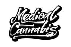 Cannabis medica Iscrizione moderna della mano di calligrafia per la stampa di serigrafia Fotografie Stock Libere da Diritti