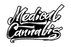 Cannabis medica Iscrizione moderna della mano di calligrafia per la stampa di serigrafia Fotografia Stock Libera da Diritti