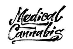 Cannabis medica Iscrizione moderna della mano di calligrafia per la stampa di serigrafia Immagine Stock Libera da Diritti
