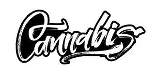 cannabis Modern kalligrafihandbokstäver för serigrafitryck Royaltyfri Fotografi
