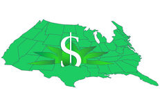 Cannabis money map Royalty Free Stock Photos