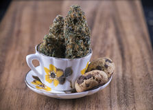 Cannabis nugs and infused chocolate chips cookies - medical mari Royalty Free Stock Image