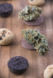 Cannabis nugs over infused chocolate chips cookies - medical mar royalty free stock images