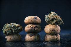Cannabis nugs over infused chocolate chips cookies - medical mar Royalty Free Stock Photo