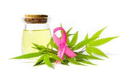 Cannabis oil and Cancer awareness ribbon isolated. On white royalty free stock photos