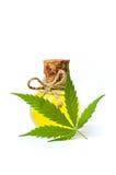 Cannabis oil and marijuana leaf isolated royalty free stock photo