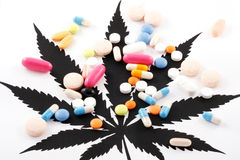 Cannabis and pills Royalty Free Stock Photos