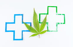 Cannabis plant and medical sign. Stock Images