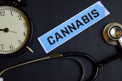 Cannabis on the print paper with Healthcare Concept Inspiration. alarm clock, Black stethoscope. royalty free stock image