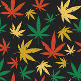 Cannabis seamless retro pattern. Royalty Free Stock Images