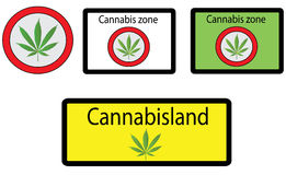 Cannabis signs. Vector of different cannabis signs Stock Photography