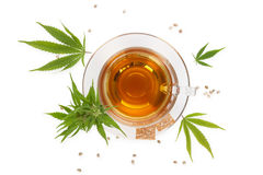 Cannabis tea with crackers from above. Stock Photography