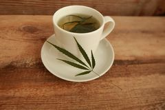 Cannabis hemp herb hot tea white cup Royalty Free Stock Photography