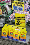Cannabis and tulips sold to the floating market of Amsterdam Hol Stock Photography