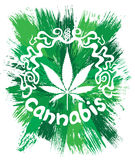 Cannabis white leaf decorative design Royalty Free Stock Image