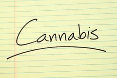 Cannabis On A Yellow Legal Pad Royalty Free Stock Photos