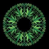 Cannabis Zen Mandala nel verde immagine stock libera da diritti