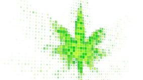 Cannabisbladform på bildskärmen 3D framför royaltyfri illustrationer